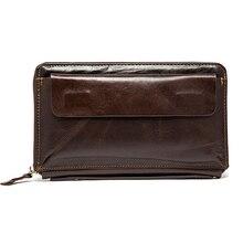 Cartera larga Vintage para hombre, Cartera de cuero genuino, carteras, monederos, primera capa, cuero auténtico