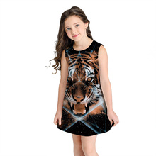 New Summer Girls Dress Cute Princess Sleeveless Print Children's Clothing Fashion Round Neck Girl Costume