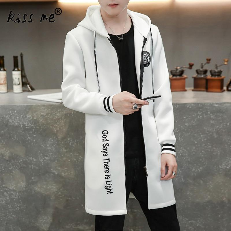 2017 New Autumn Winter Mens   Trench   Coat With Hat Slim Fit Mens Casaco Print Letters Long Sleeve Manteau Homme Long Plus Size 3XL