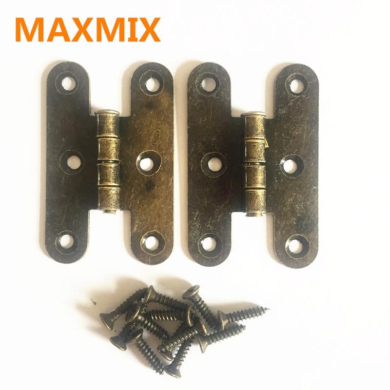 Color: Black 4pcs Wooden Box Hinge Antique H-Type Hinge Metal Hinge 4-Hole Flat Door Hinge Link Tablets for Jewelry Boxes Furniture Fittings