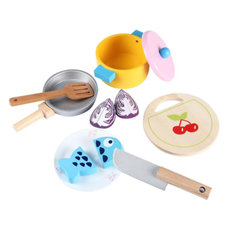 Children Wooden Simulation Real Life Kitchen Tableware pot toys child role play pretend wood toy for gifts