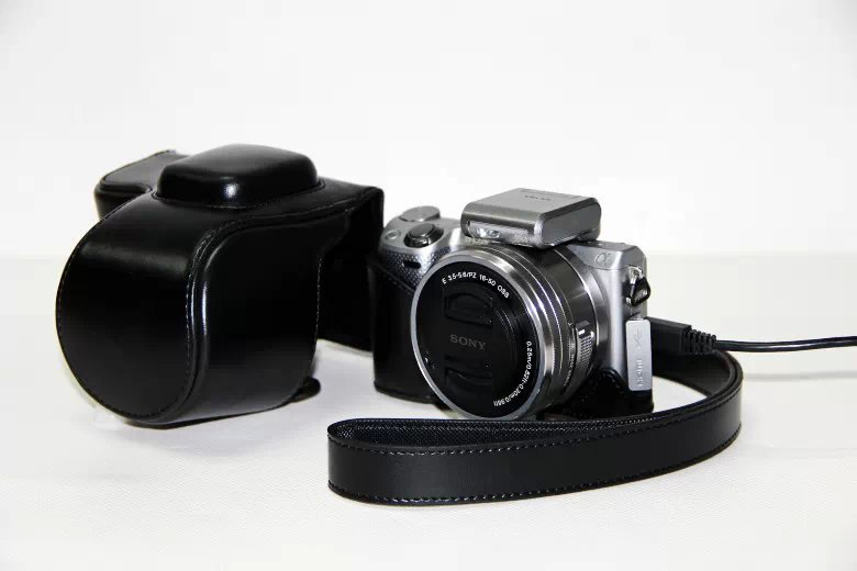 PU Cuir Camera Case Sac pour Pour Sony Alpha NEX-5/NEX-5T/NEX-5R/NEX-5N, NEX 5/5 T/5R/5N, NEX5T, NEX5N 5N 5 T 5C 5R 16-50mm objectif
