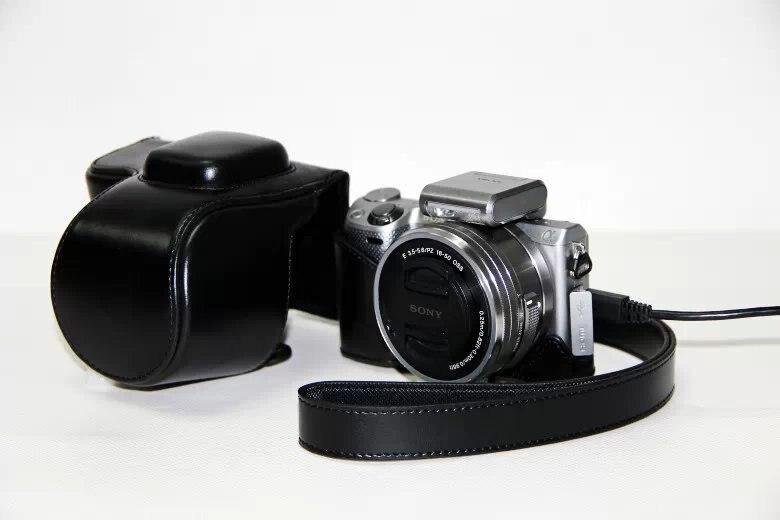 PU cuero Cámara caso bolsa para Sony Alpha NEX-5/NEX-5T/NEX-5R/NEX-5N, NEX 5/5 t/5R/5N, NEX5T, NEX5N 5N 5 t 5C 5R 16-50mm lente