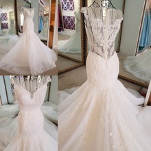 LS17006 Sexy mermaid wedding dress see through back cap sleeves tulle lace wedding gowns 2017 robe de mariee sirene