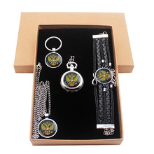 Классический русский национальный герб ювелирный подарочный набор есть карманные часы и кулон ожерелье и брелки браслет с подарочной коробкой