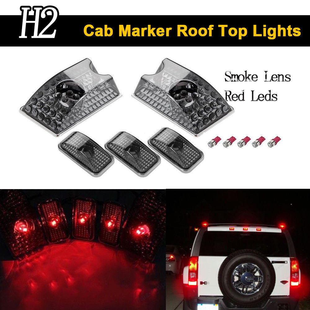 Keyecu 5PCS Smoke Roof Cab Marker Cover & T10 5050-5SMD Red LED Light Bulbs Fits for 2003-2009 Hummer H2 SUV SUT