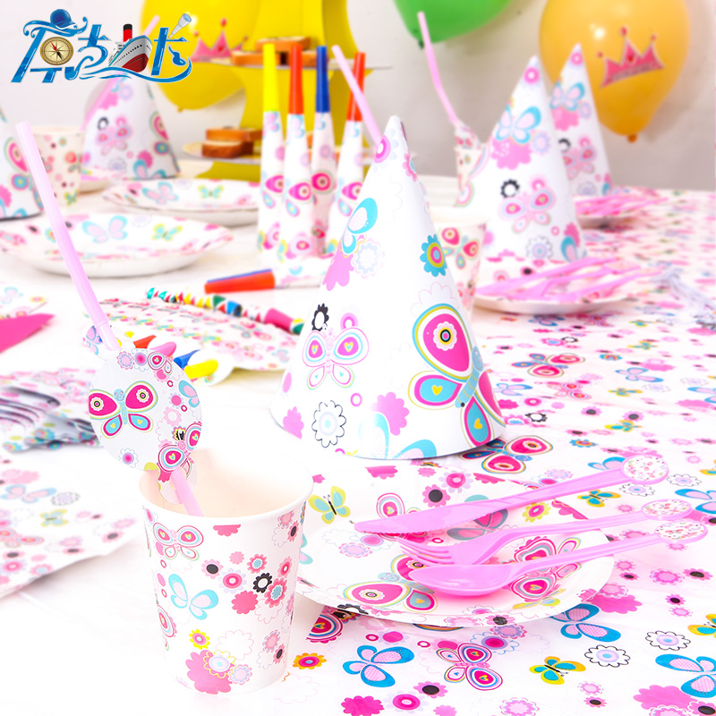 pack of 6 kids parties tableware BUTTERFLY Themed Party Bags