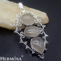 Hermosa Jewelry Beauty Natural Rutilated Quartz 925 Sterling Silver Jewelry Gorgeous Retro Necklace Pendant HF1557