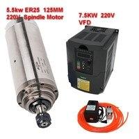 220 v 5.5Kw 5500 W 125mm Spilmotor ER25 + 7.5kw inverter VFD + 75 W waterpomp kits 24000 rpm Voor CNC Graveren-in Werktuig Machines van Gereedschap op