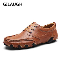 GILAUGH New Arrival Leather Men Shoes Fashion Flats Comfortable Lace Up Handmade Casual Shoes