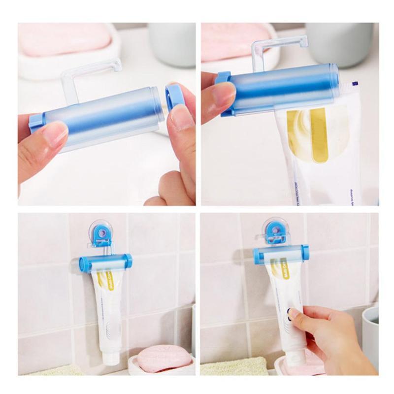 Plastic Toothpaste Dispenser Sucker Holder Rolling Tube Squeezer Dental Cream Bathroom Manual Syringe Gun Dispenser 5