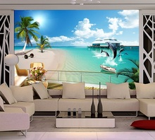 Customized 3D mural Dolphin Beach seaview behind TV sofa background wallpaper the living room large seamless video wall scenery free shipping large mermaid mural tv living room bedroom sofa hotel ktv backdrop coral dolphin underwater world wallpaper mural