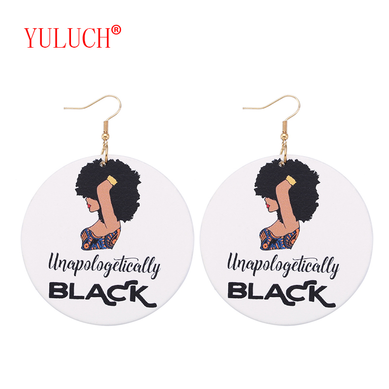 YULUCH 2018 Personality Women's Fashion Jewelry Accessories African Wooden Fashion Woman Painted Pendant Earrings Party Gifts