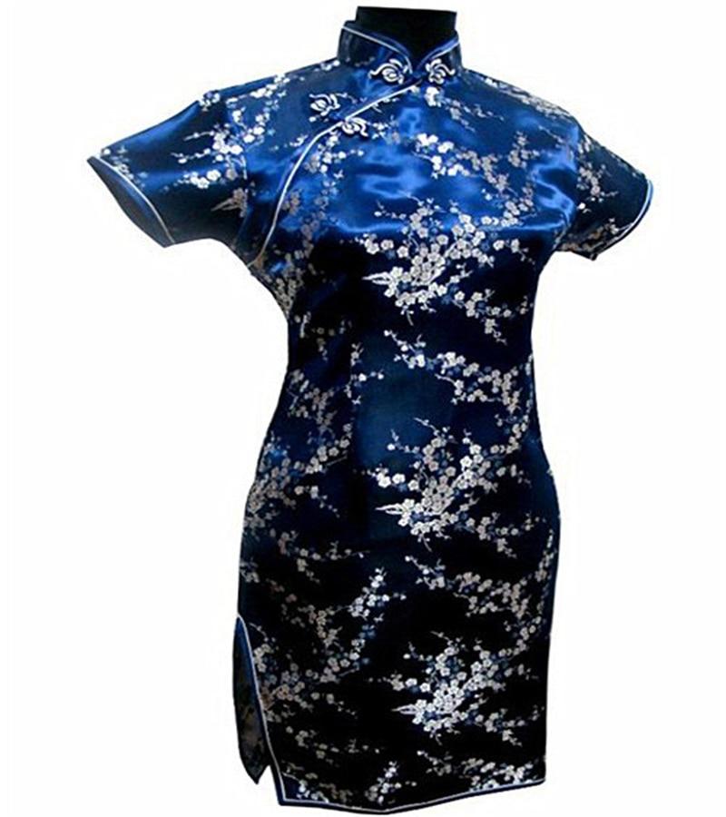Ny Svart Rød Kinesisk Tradisjonell Kjole Kvinners Silke Cheongsam - Nasjonale klær - Bilde 4