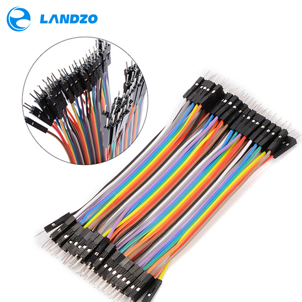 LANDZO Electronic Technology Co.,Ltd free shipping 40PCS 10CM 2.54MM Row Male to Male Dupont Cable Breadboard Jumper Wire For arduino