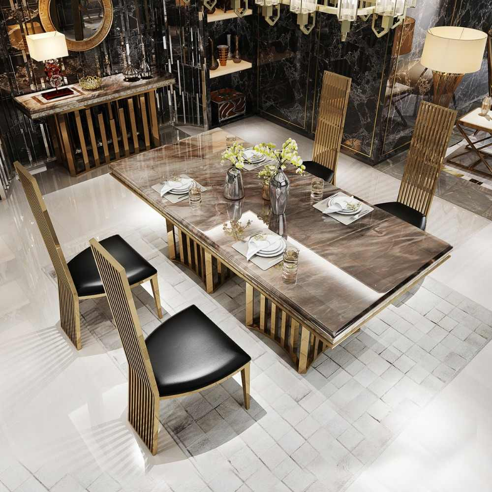 Rama Dymasty Stainless Steel Dining Room Set Home Furniture Modern Marble Dining Table And 6 Chairs Rectangle Table Dining Tables Aliexpress