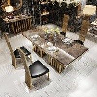 Рама Dymasty нержавеющая сталь Обеденная набор мебели для дома современные мраморный обеденный стол и 6 стульев, прямоугольный стол