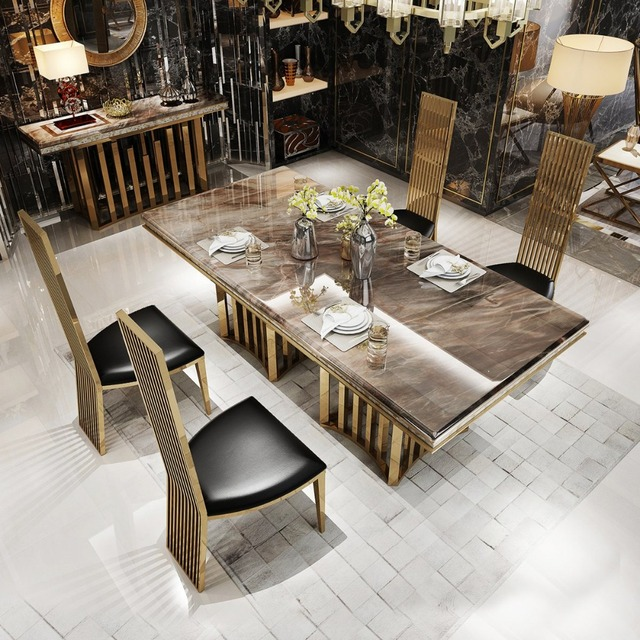 Rama Dymasty Stainless Steel Dining Room Set Home Furniture Modern Marble Table And 6 Chairs
