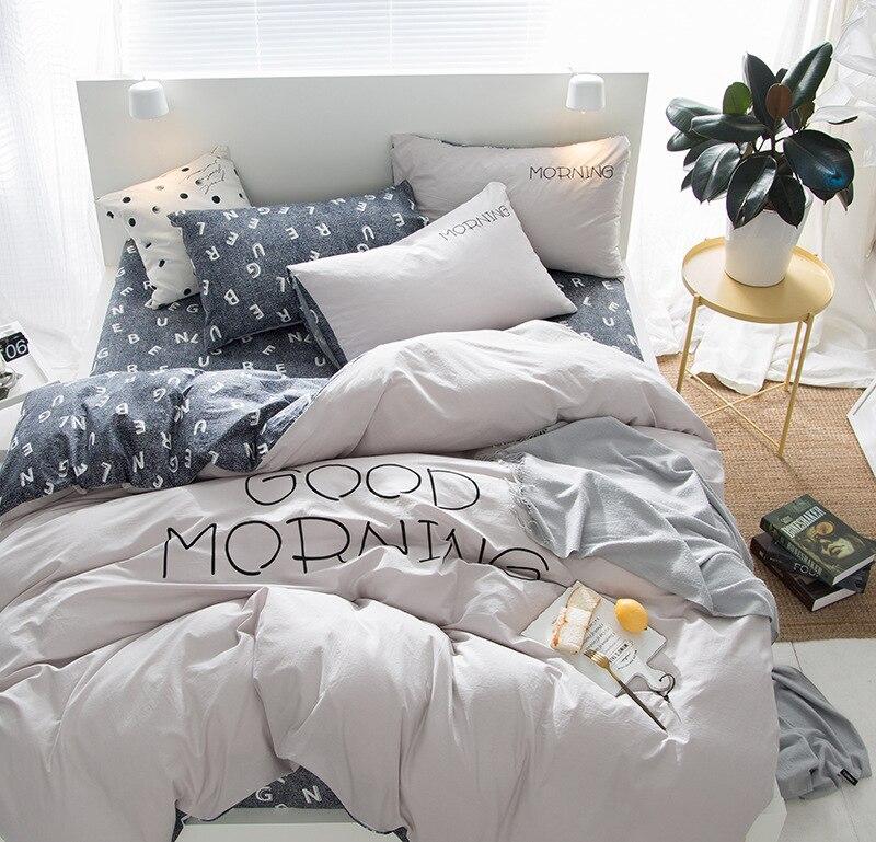 Nordic Style Plain Four-Piece Bedding Sets Cotton Solid Color Bed Linen Quilt Cover Cotton Simple Single Double King  Queen