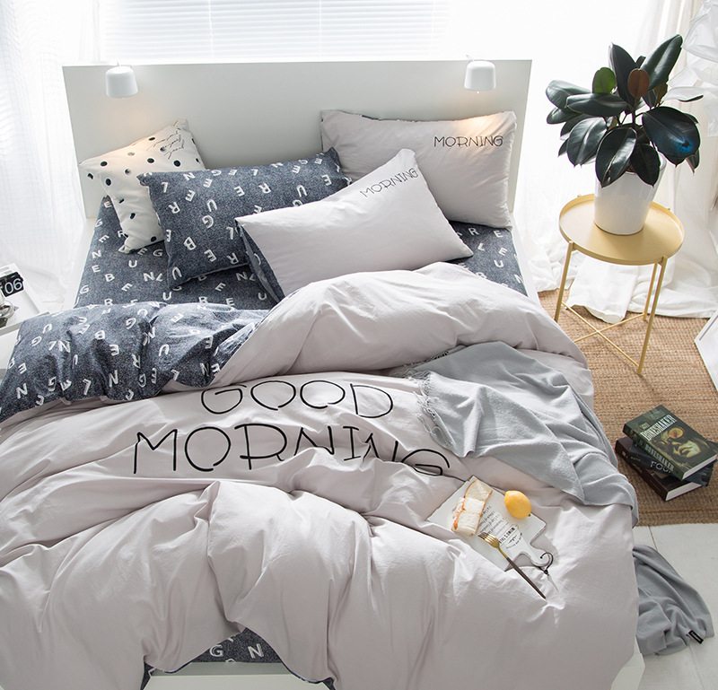 Nordic Style Plain Four-Piece Nude Sleeping Cotton Solid Color Bed Linen Quilt Cover Cotton Simple Embroidered Bed Bed