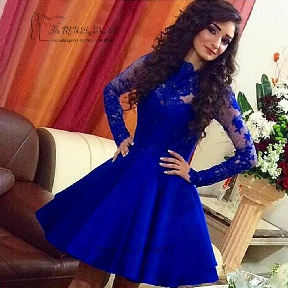 Vestido de Festa Curto Royal Blue Long Sleeve Lace Cocktail Dresses 2017 Short Evening Party Dress Above Knee Sexy Coctel