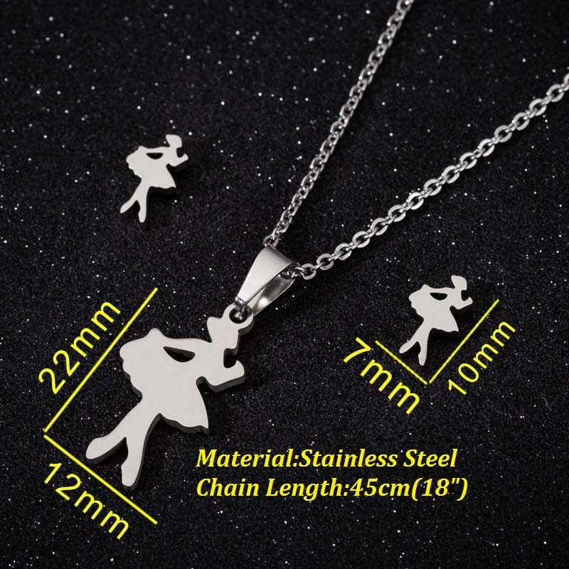 Yiustar Stainless Steel Lucu Mini Balet Kalung untuk Wanita Gadis Anak-anak Ulang Tahun Hadiah Romantis Penari Anting-Anting Perhiasan Set