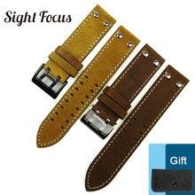 22mm Watch Band for Hamilton Luminox Breitling Strap Black Brown Khaki Crazy Horse Leather Belt Watch Bracelet Correa Horlogeban