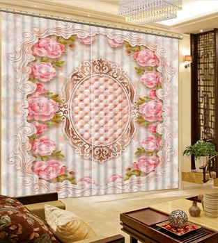 Europe curtains marble curtain 3D Window Curtain Foggy forest Luxury Blackout Living Room office Bedroom
