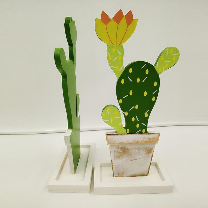 Wooden Cactus Model Desktop Plant Ornaments Children's