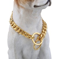 Gold 316L Stainless Steel Training Choker Collar For Pet Puppy Dog Chain Cut Cuban Heavy Link Dropshipping 16/26inch 13mm DDC06