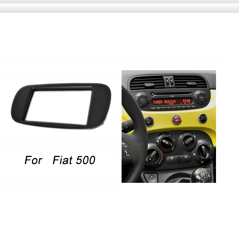 double din fascia for fiat 500 radio cd dvd stereo panel. Black Bedroom Furniture Sets. Home Design Ideas