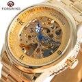 FORSINING Luxo Requintado Vestido Homens Relógio Mecânico Auto-liquidação Relógios de Pulso Masculino Presente para o Natal Ouro/Mostrador Branco relógio