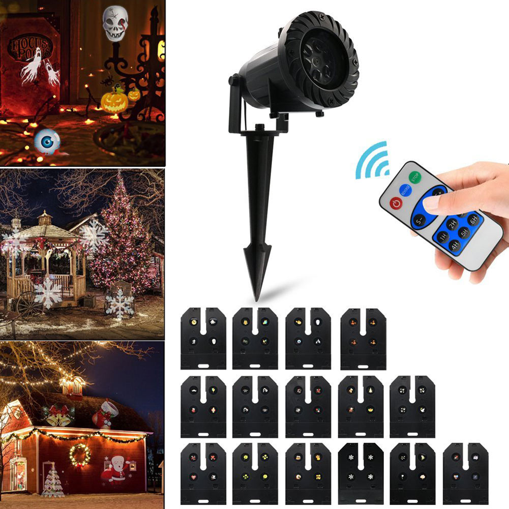 LED Landscape Light Rotating Projector 15 Pattern Spotlight Waterproof Lights for Halloween Christmas Garden Yard Decor