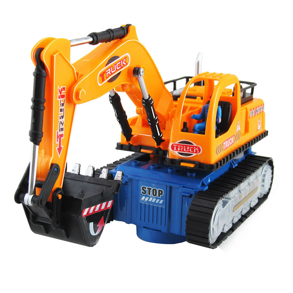 ZD Universal Flashing Wheel Musical Excavator Car Kid Children Toy Builder Orange