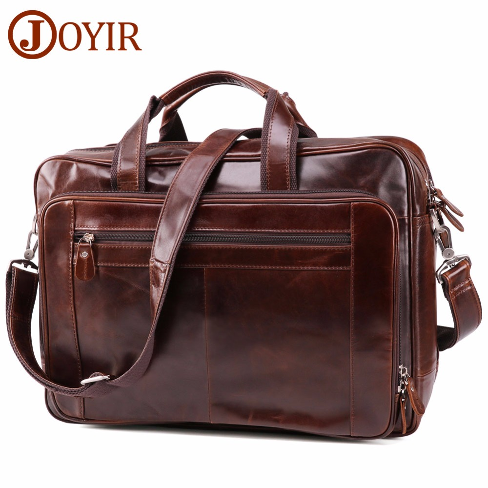 JOYIR Genuine Leather Men's Briefcase Business Briefcase Computer Shoulder Laptop Bags Travel Bag Leather Handbags Men's Bags