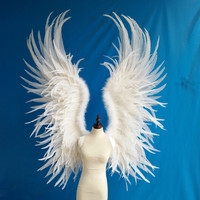 Взрослый большой размер Крылья Ангела из перьев фото реквизит сценическое шоу Хэллоуин костюм свадебные принадлежности для детской вечери