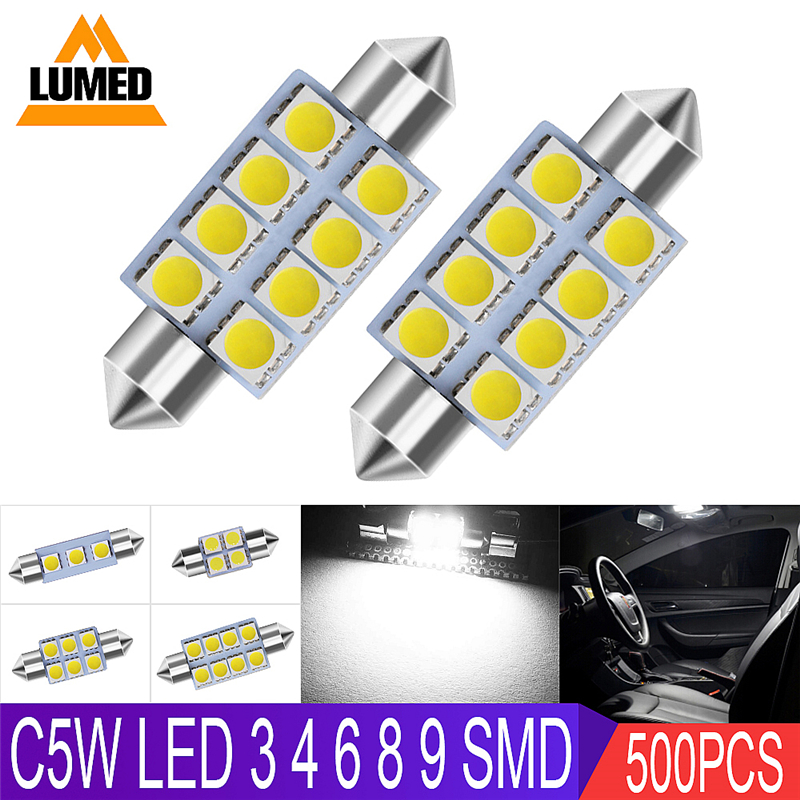 500x C5W Car light bulb interior Car LED Side light Festoon 3 4 6 8 9