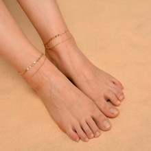 2017 Multilayer Chain Chaine Cheville Anklet Bracelets for Women Bracelet on The Leg Sequins Ankle Barefoot Sandals Foot Jewelry