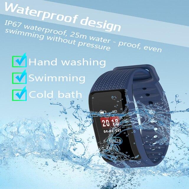 2019 سوار ذكي جهاز تعقب للياقة البدنية الذكية معصمه للماء شاشة ملونة القلب معدل ضغط الدم رصد لالروبوت IOS
