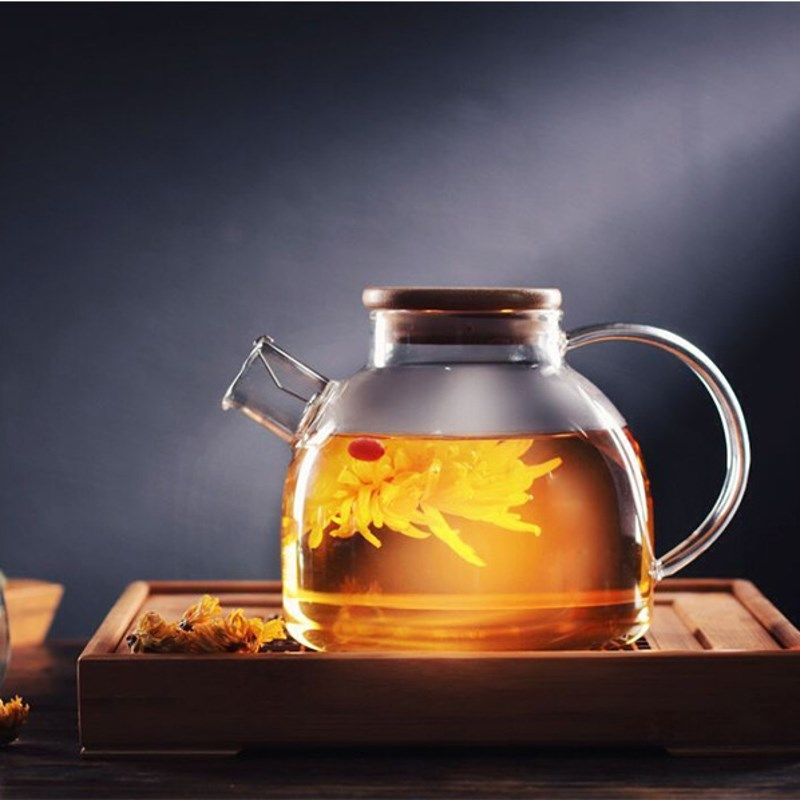 Clear Glass Kettle Water Jug Juice Container 1000ml 1800ml Heat Resistant Flower Teapot Bamboo Lid Home