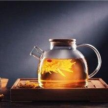 Klarglas wasserkocher jug saftbehälter 1000 ml/1800 ml hitzebeständigem blume teekanne bambus deckel hause büro lagerung inhaber