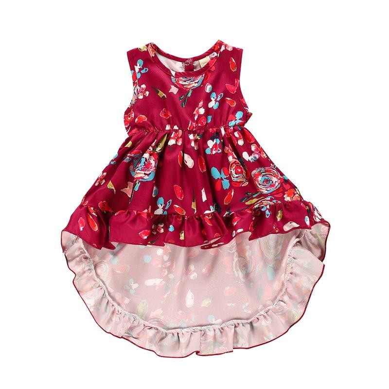 Casual Floral Tutu Vestido Sem Mangas Festa de Casamento roupa infantil Criança Do Bebé Roupa 1-4Y D20