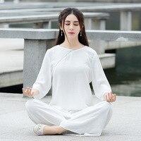 Women Cotton Yoga Set Spring&Autumn Kung fu Martial arts Shirts Pants lay Meditation Uniforms Tai Shi Tang Suits White