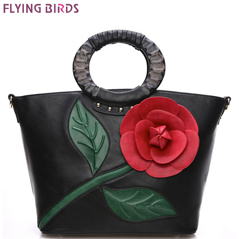 ФОТО FLYING BIRDS! 2016 women handbag designer tote women leather handbags bolsas bag flower summer style women's pouch  LM3025fb