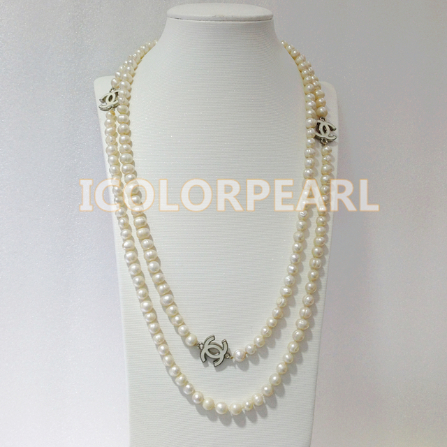 160-170CM Long 6MM White Natural Freshwater Pearl Sweater Necklace. Different Wearing Styles.