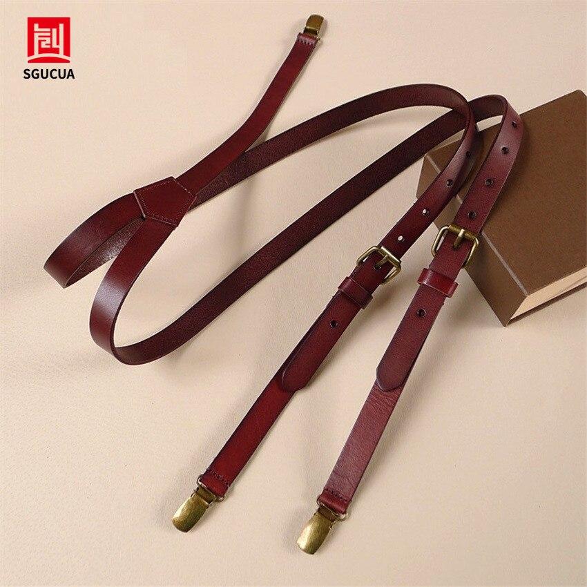 New brown cowhide leather strap Women men suspenders head skin british retro tri-clamp suspenders Braces wide 2CM