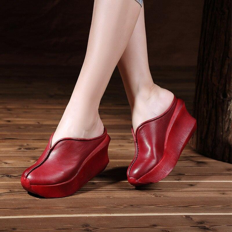 Tyawkiho Genuine Leather Women Slippers Red 8 CM High Heels Wedge Summer Shoe Set Foot Retro Handmade Women Leather Slipper 2018-in Slippers from Shoes    1