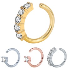 1 PC Micro-inlay Zircon Nose Ring 316L Stainless Steel Nails Earrings Eyebrows Body Piercing Jewelry 16G
