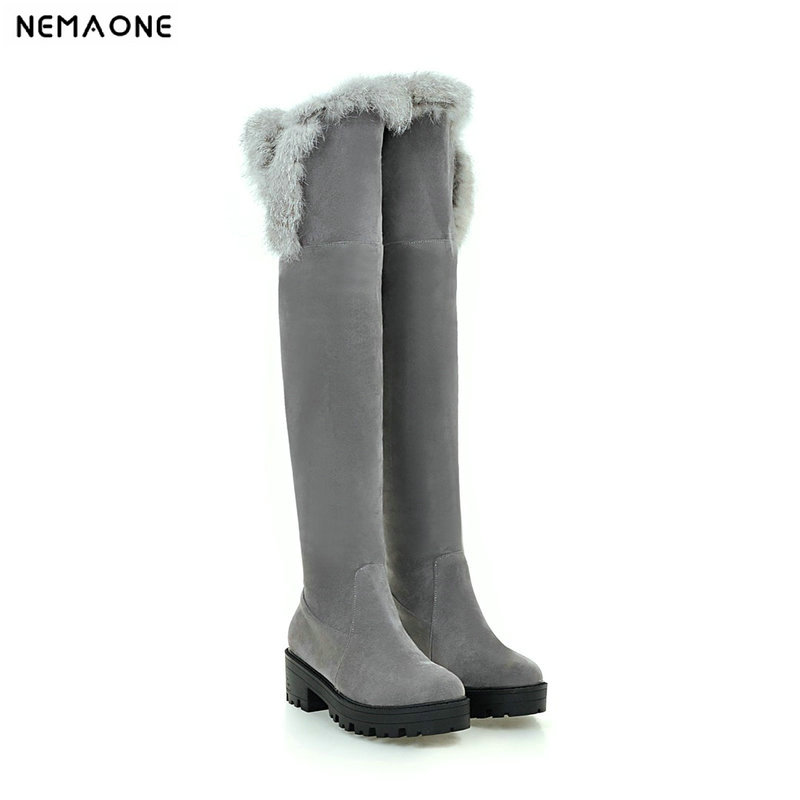 NEMAONE Fashion women boots Thick High Heels Women High Boots Winter Sexy Boots Ladies Long Snow Boots black beige red gray недорого