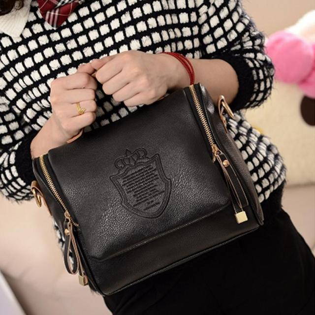 PU Leather Crown Shoulders Doulber Zipper Bag